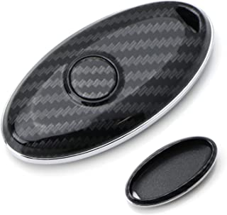 iJDMTOY Exact Fit Black Glossy Carbon Fiber Finish Key Fob Shell For Nissan Infiniti Oval Shape 2/3/4/5 Buttons Smart Key