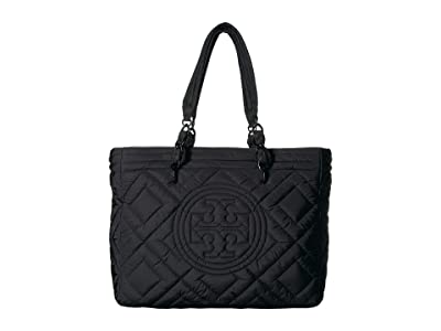 Tory Burch Fleming Quilted Nylon Tote (Black) Handbags