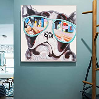 Cartoon Dog Abstract Decoration Painting for Decoration Painting On Canvas (12x12 inch,Framed)