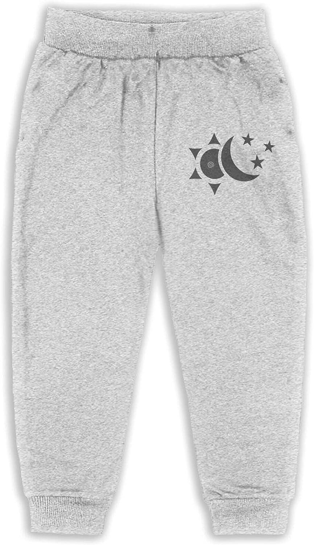 Unisex Kids Sun Moon Stars Graphic Athletic Pants Cotton Dance Pants Personality Pants for Children