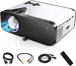 【4500ルーメン 1080PフルHD対応】 プロジェクター 小型 LED 内蔵スピーカー 台形補正 176インチ大画面 パソコン/PS3/PS4/DVDプレイヤーなど接続可 USBメモリ/SDカード/HDMI/AV/VGAに対応 日本語取説 リモコン付き ホーム用 ビジネス用 YIHAI (ホワイト)
