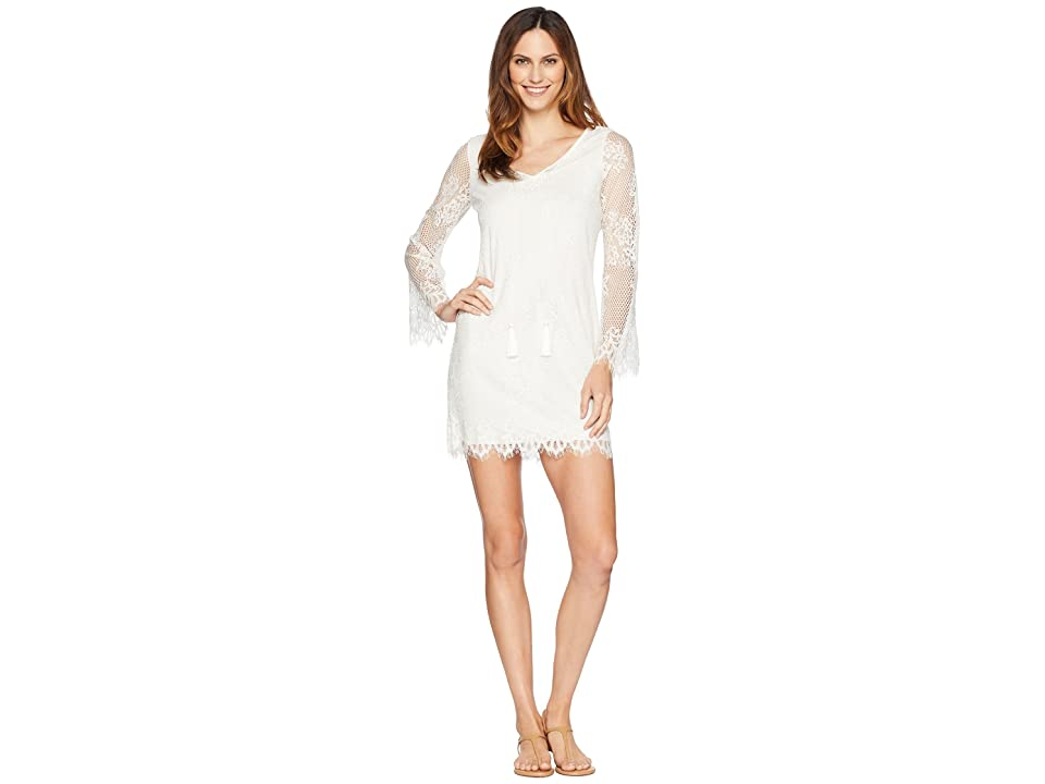 American Rose Sandra Long Sleeve Lace Dress (Ivory) Women