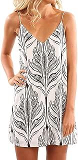 Womens Sexy Print Summer Beach Boho Straps Short Dress