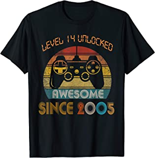 Level 14 Unlocked Awesome Since 2005-14th Birthday Gamer T-Shirt