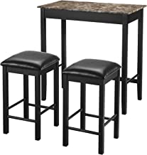 Dorel Living 3-Piece Devyn Faux Marble Pub Dining Set