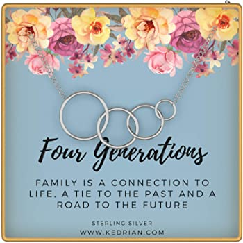 KEDRIAN Four Generations Necklace, 925 Sterling Silver, Great Grandma Gifts, Grandmother Necklace, 4 Generations Necklace for Grandma, Grandma Gifts from Granddaughter