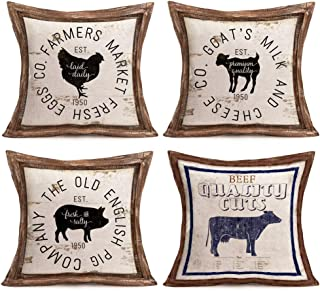 Asamour Rustic Farmhouse Poultry Animal Words Pillow Covers Vintage Wood Frame with Farm Fresh Rooster Hen Goat Pig Bull Cow Cotton Linen Throw Pillow Case Decorative Cushion Cover 18x18 Inch Set of 4