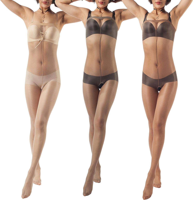 ElsaYX Women's Nylon Shine Body Stocking Pantyhose Lingerie