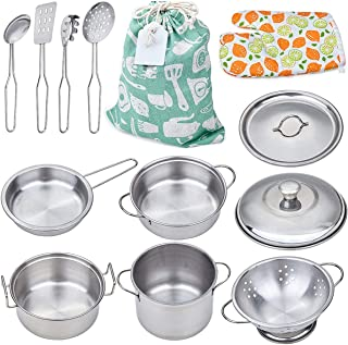 Play Pots and Pans Toys for Kids - Kitchen Playset Pretend Cookware Mini Stainless Steel Cooking Utensils Development Toys...