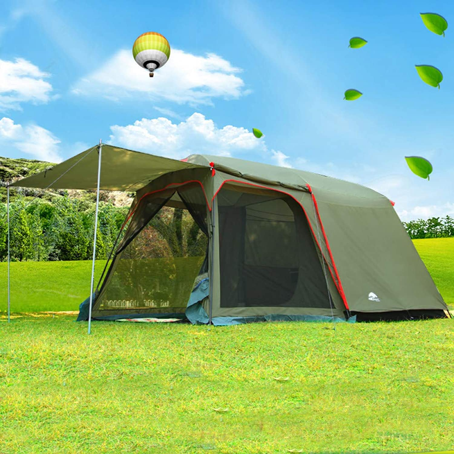 Ashuang Outdoor-Camping für 4-8 Personen Anti-Regenwind Groes reisendes Campingzelt in groem Raum