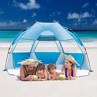 iCorer 海滩帐篷 Easy Up Cabana 帐篷 遮阳 海滩雨伞 豪华大号 适合 4 人 蓝色