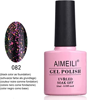 AIMEILI Soak Off UV LED Galaxy Paranoid Collection Clear Glitter Gel Nail Polish - Back to Uranus (082) 10ml