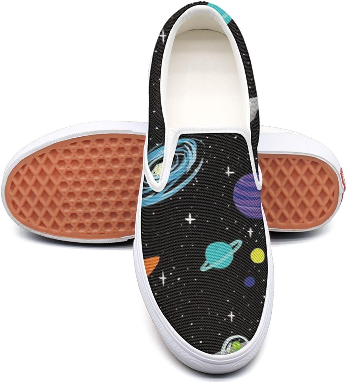 RegiDreae Canvas Slip On Sneakers for Women Solar System Spaceships Planets Fashion Sneaker