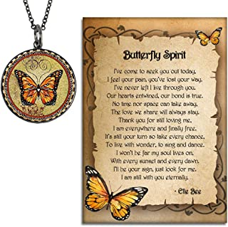 and Spirit Lala Orange Monarch Butterfly Grief Sympathy Gift Reversible Necklace with Our Love Never Dies and Butterfly Spirit Poem Card, Gift Box