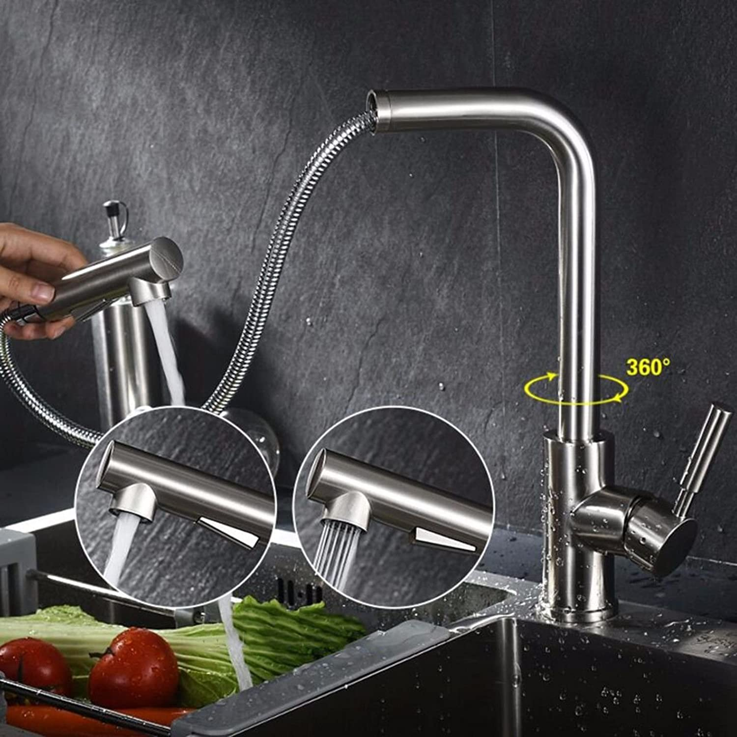 MulFaucet Kitchen Pull-Out Faucet hot and Cold Stainless Steel Pull Telescopic Sink Sink Sink Faucet Spin B