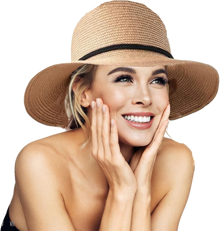 Womens Straw Sun Hat Wide Brim Wind Lanyard Summer Beach Hat Outdoor