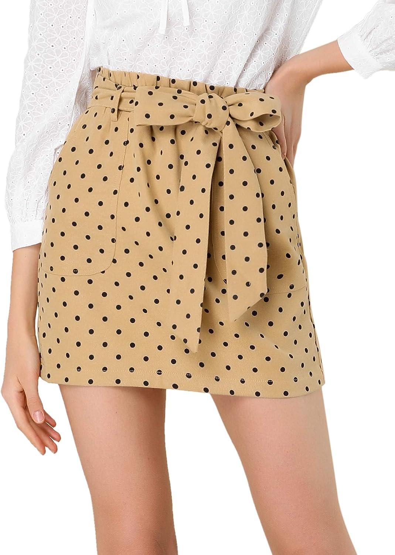 Allegra K Women's Polka Dots Bow Tie Paper Bag Waist Patch Pockets Vintage Mini Short Skirt