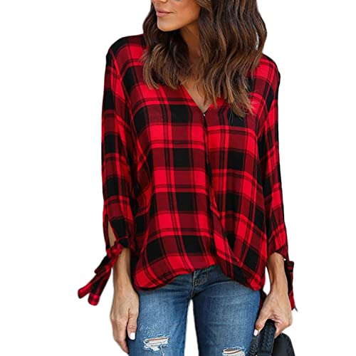 afe17f90fa59d Dearlovers Womens Plus Size 3 4 Long Sleeve Casual Plaid Drape Top Shirts  XXL Size Red