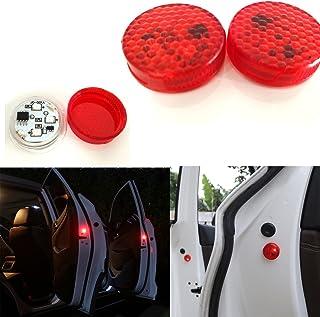 Aviso de puerta de coche abierta con luz roja estroboscópica intermitente LED para abrirlas con seguridad. Luces LED reflectoras y magnéticas, impermeables e inalámbricas con sistema universal de proximimidad con destellos rojos y interruptor instantáneo ON/OFF anticolisión (2unidades)