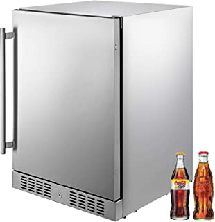 VBENLEM 24'' Built-in Stainless Steel Beverage Cooler 5.5 cu.ft. Small Reversible Door Refrigerator 142 Can Beer Fridge for Home Bar Office Commercial Outdoor Indoor Use (150L, Silver)
