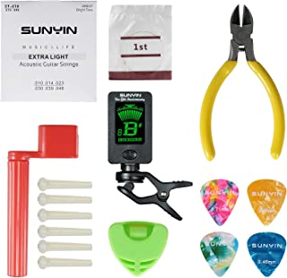 SUNYIN Acoustic Guitar Tool,Kit for Starter with Guitar Strings Winder Cutter Tuner Bridge Pins Picks & Pick Holder,Everything Set for Change the String-ordinary