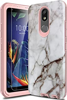 Leptech Case for LG K40 LMX420, Marble Pattern Designed for LG K12 Plus Case, LG X4 2019 Case, LG Solo LTE Case, LG Harmony 3 Case with Soft TPU Screen Protector (Off-White)