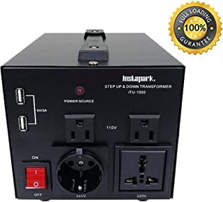 Instapark ITU-1000 Series Heavy-Duty AC 110/220V Step Up/Down Voltage Transformer/Converter with US Standard, Universal, German/French Schuko AC Outlets - 1,000 Watt