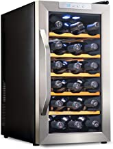 Ivation Premium Stainless Steel 18 Bottle Thermoelectric Wine Cooler/Chiller Counter Top Red & White Wine Cellar w/Digital Temperature, Freestanding Refrigerator Glass Door Quiet Operation Fridge