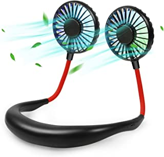 Neck Fan - Rose Abbey Hands Free Portable Neck Fan, USB Rechargeable Personal Neck Fan with 3 Speed 7 Gradient Color, Head...
