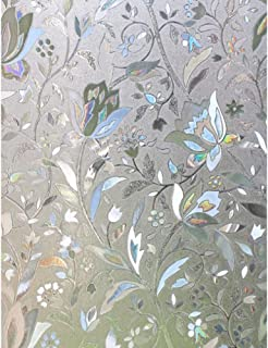 No-Glue Static Window Film 3D Tulip Frosted Glass Stickers Decor (60X200cm)