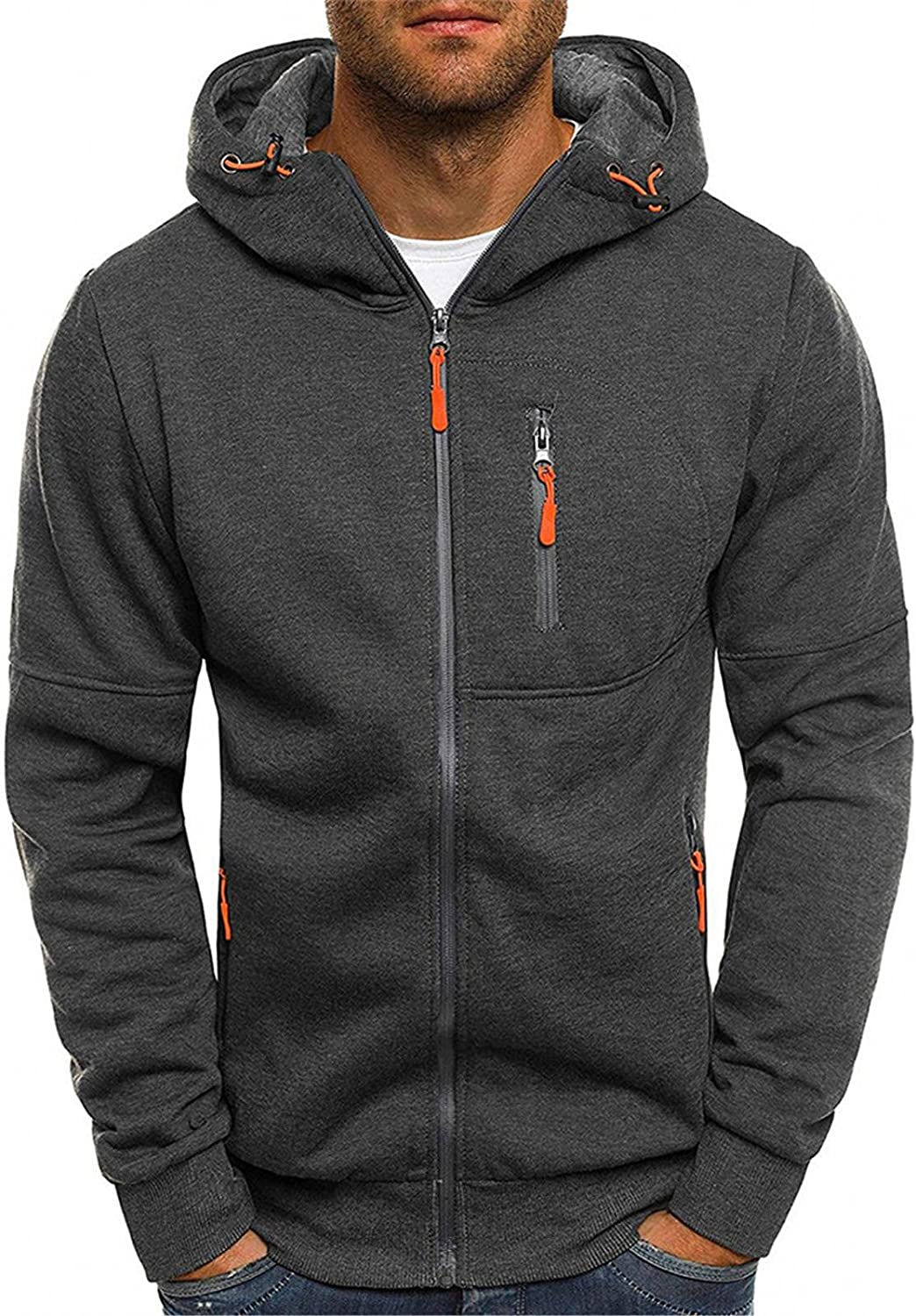 Aayomet Pullover Hoodies for Men Solid Zipper Long Sleeve Hooded Sweatshirts Casual Workout Sport Sweaters Blouses Tops