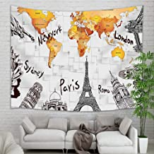Wanderlust Tapestry Travel Decor, World Map London Bridge Statue of Liberty Leaning Tower of Pisa on 3D Wallpaper Tapestry Wall Hanging, Wall Blanket for Bedroom Living Room Dorm Home Decor, 71X60 in