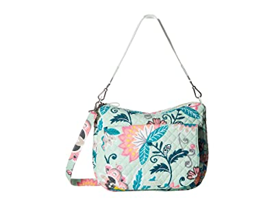 Vera Bradley Carson Shoulder Bag (Mint Flowers) Shoulder Handbags