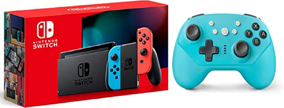 Nintendo Switch With Neon Red & Neon Blue bundled With X-Ninja Wireless Pro Controller (Turquoise)