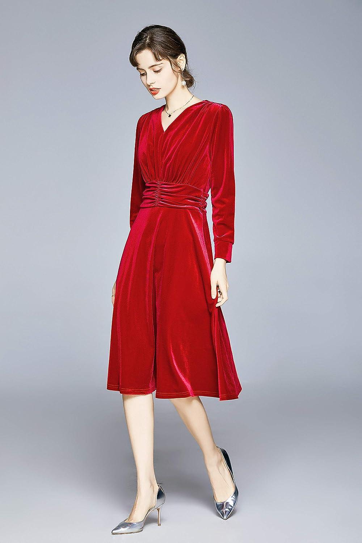 1940s Dresses   40s Dress, Swing Dress, Tea Dresses Womens Casual Vintage Round Neck Velvet Tunic Swing A-Line Midi Party Dress  AT vintagedancer.com