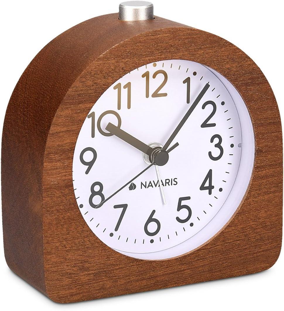 Navaris Save money Wood Analog Alarm Clock - Battery-Operated No Nippon regular agency Half-Round