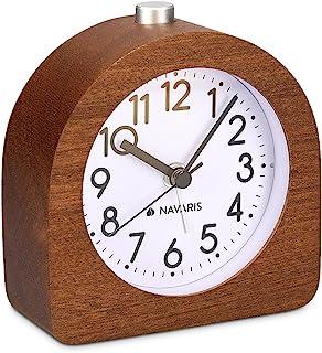 comprar comparacion Navaris Despertador analógico - Despertador Madera con luz y Sonido - Reloj Retro con función repetición de Madera Natural...