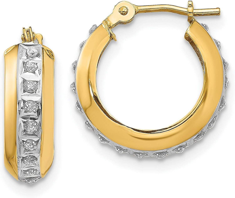 超定番 14k Yellow Gold Diamond Fascination Ear Hoop Huggie Round Hinged ◆高品質