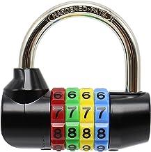 Bosvision [Hangslot] [cijferslot] [combinatieslot] 4-voudig 64 mm (breedte) met 7,8 mm schakel voor poorten, hutten, spind...