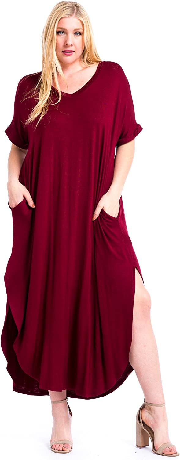 12 Ami Plus Size Solid VNeck Pocket Short Sleeve Loose Maxi Dress  Made in USA