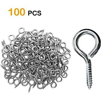 Silver BronaGrand 100 Pieces 1 inch Eye Hooks Small Screw Eyes Metal Eye Shape Screw Hooks Self-Tapping Screws Hooks Ring