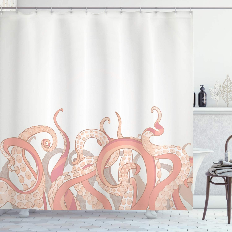 Ambesonne 全国どこでも送料無料 Octopus Shower Curtain Un Animal 上品 Tentacles Background