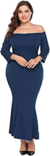 Womens Plus Size Off Shoulder Long Slevee Maxi Mermaid Bodycon Evening Party Dress