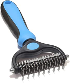 Maxpower Planet Pet Grooming Brush - Double Sided Shedding and Dematting Undercoat Rake Comb for Dogs and Cats,Extra Wide