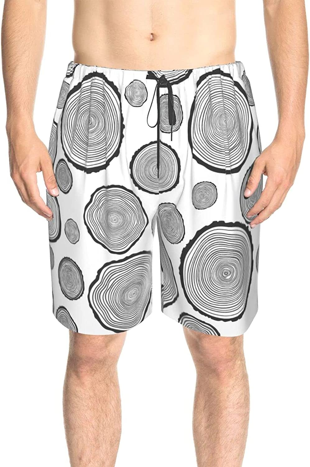 Feim-AO Mens Swim Trunks Vintage Tree Rings Pattern Breathable Beach Shorts Athletic Board Shorts Quick Dry with Pockets