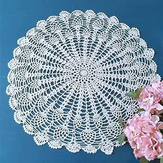 FidgetGear White Hand Crochet Round Table Lace Doily/Topper Pineapple Pattern 19-21inch
