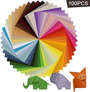 Origami Paper, AIEX 100 Sheets 15x15cm in 50 Assorted Colour Double Sided Square Origami Paper with 100PCS 8mm Wiggle Googly Eyes for DIY Crafts and Arts Projects