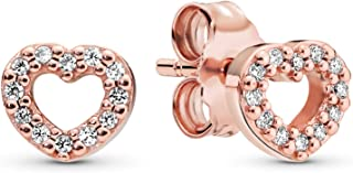 Jewelry - Open Heart Stud Earrings in Pandora Rose with Clear Cubic Zirconia