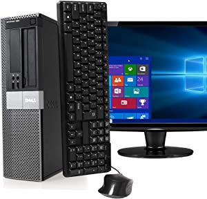 Dell Optiplex 980 Desktop PC Package, Intel Core i5 3.2 GHz, 4 GB-RAM, 250 GB HDD, Keyboard/Mouse, 17in LCD Monitor (Brands Vary), DVD, Windows 10 (Renewed)