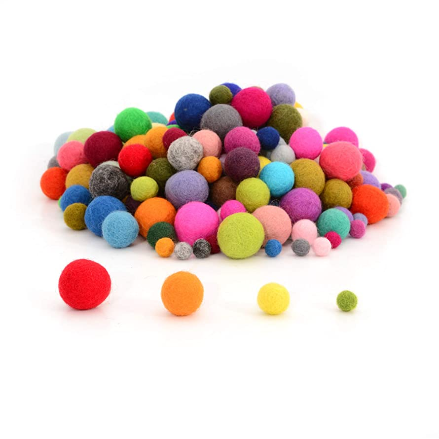 Glaciart One Felt Pom Poms, Wool Balls (120 Pcs) 3 Sizes: 1.5 cm, 2 cm & 2.5 cm, Handmade Felted 40 Color (Red, Pink, Blue, Orange, Yellow, White, Pastel & More),Bulk Small Puff for Felting &Garland
